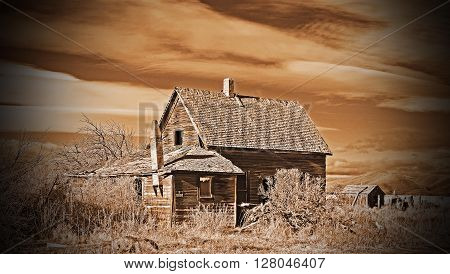 This is a old  homestead in Oregon, in a Sepia filter
