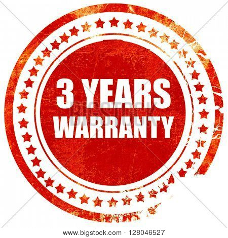 3 year warranty, grunge red rubber stamp on a solid white backgr