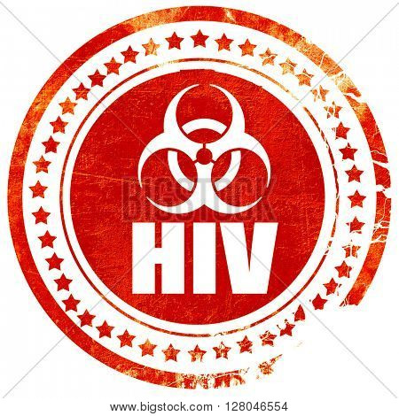Aids virus concept background, grunge red rubber stamp on a soli