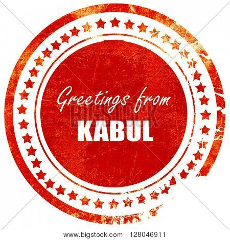 Greetings from kabul, grunge red rubber stamp  on a solid white background