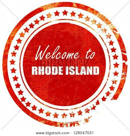 Welcome to rhode island, grunge red rubber stamp on a solid white background