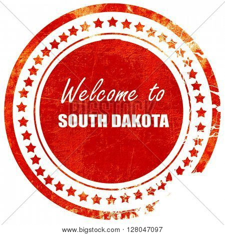 Welcome to south dakota, grunge red rubber stamp  on a solid white background