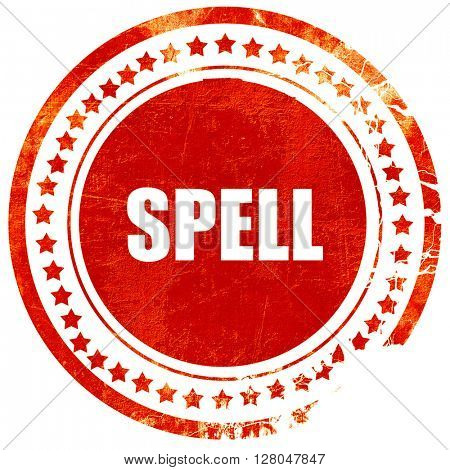 spell, grunge red rubber stamp on a solid white background