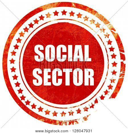 social sector, grunge red rubber stamp on a solid white background