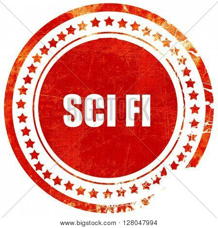 sci fi, grunge red rubber stamp on a solid white background