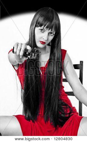 Very Dangerous Girl With Handgun (black, White And Red)
