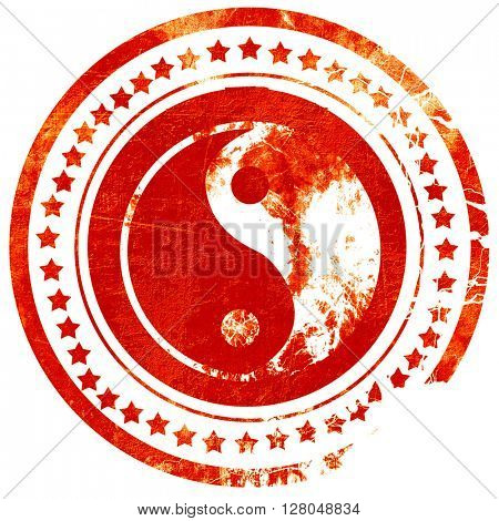 Ying yang symbol, grunge red rubber stamp on a solid white background