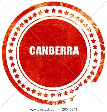 canberra, grunge red rubber stamp on a solid white background