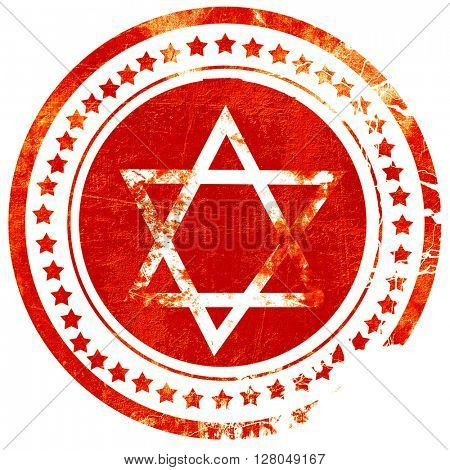 Star of david, grunge red rubber stamp on a solid white background
