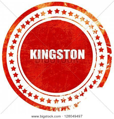 kingston, grunge red rubber stamp on a solid white background
