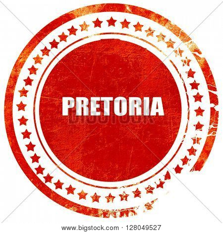 pretoria, grunge red rubber stamp on a solid white background