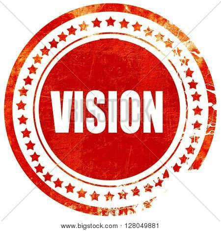 vision, grunge red rubber stamp on a solid white background