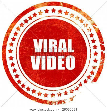 viral video, grunge red rubber stamp on a solid white background