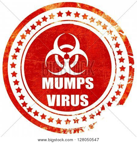 Mumps virus concept background, grunge red rubber stamp on a sol