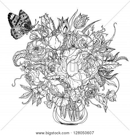 Artistic uncolored  for colouring book style luxury roses  bouquet in zenart style for Adult coloring book in famous zenart style. Hand-drawn, doodle, vector for design, wedding cards, coloring book