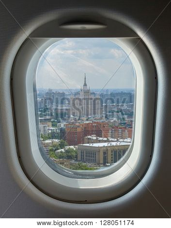 porthole and landmark aerial view of the Moscow summer sunny day