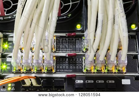 Switch ports and patch cords close up