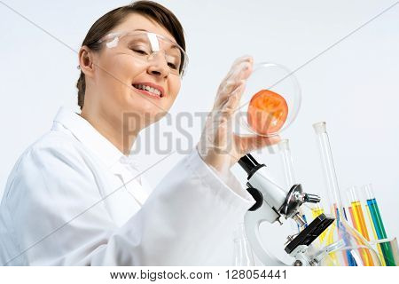 Attractive female scientist making tests of tomato in laboratory