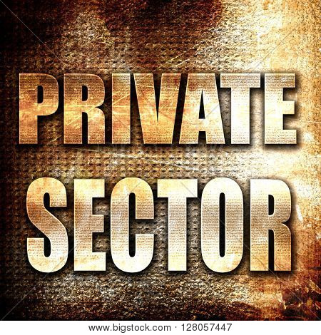 private sector, written on vintage metal texture