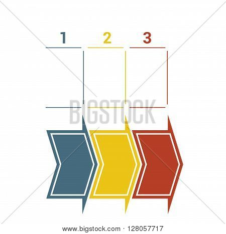 Timeline with colored horizontal arrows numbered for three position on white background