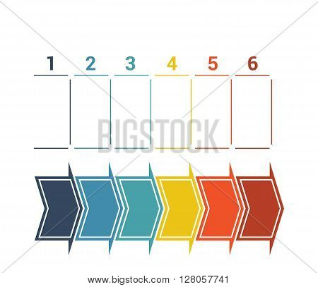 Timeline with colored horizontal arrows numbered for six position on white background
