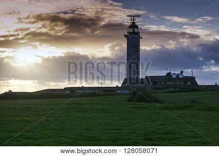 Cape Gris Nez Lighthouse at sunset. Nord-Pas-de-Calais-Picardy France.