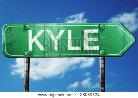 kyle road sign , worn and damaged look