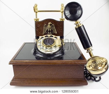Vintage Rotary Dial Telephone isolated on white