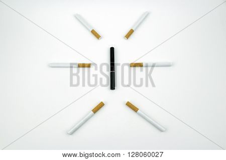Cigarettes surrounding an e-cigarette in a simple design