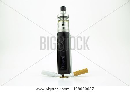 A box mod e-cigarette crushing a cigarette