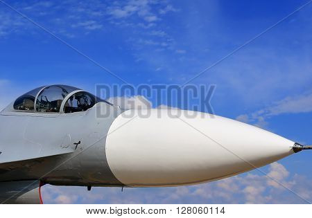 MOSCOW REGION -JULY 27:  Cabin of the fourfth-generation fighter made in Russia  on July 27, 2013 in Moscow Region