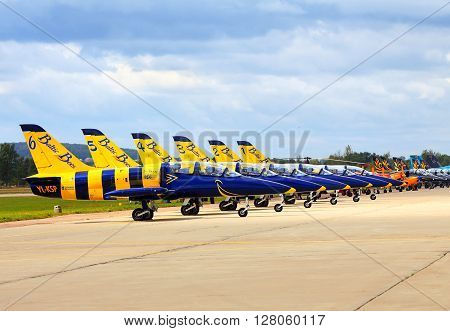 MOSCOW  - AUGUST 30:  Display of aircraft at an international air show (MAKS Air Show) on August 30, 2013 in Moscow