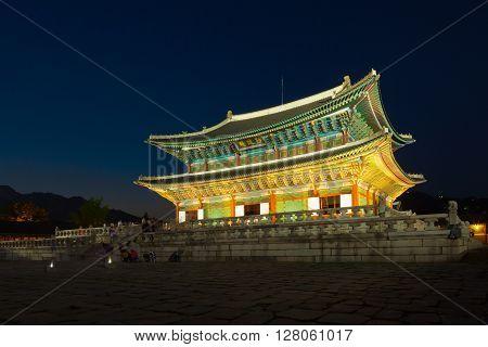 Seoul, South Korea - August 14, 2015: Gyeongbokgung Main Palace At Night -  Seoul, Republic Of Korea