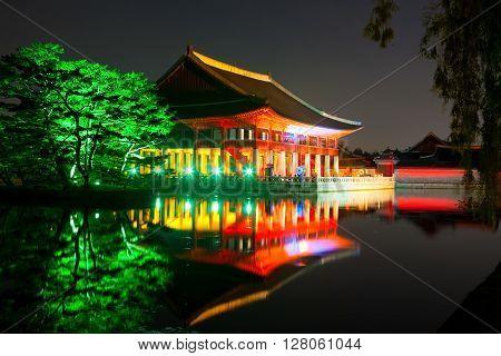 Gyeonghoeru Royal Banquet Hall Shot At Night With Trees Near It - Gyeongbokgung Palace, Seoul, Repub