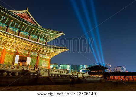 Seoul, South Korea - August 14, 2015: Gyeongbokgung Main Palace Shoot At Night -  Seoul, Republic Of