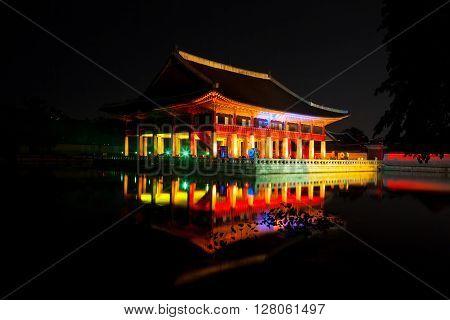 Gyeonghoeru Royal Banquet Hall Shot At Night - Gyeongbokgung Palace, Seoul, Republic Of Korea