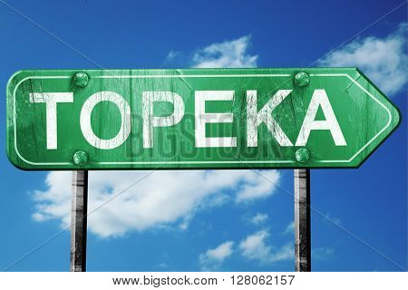 topeka road sign , worn and damaged look
