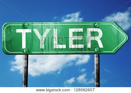tyler road sign , worn and damaged look