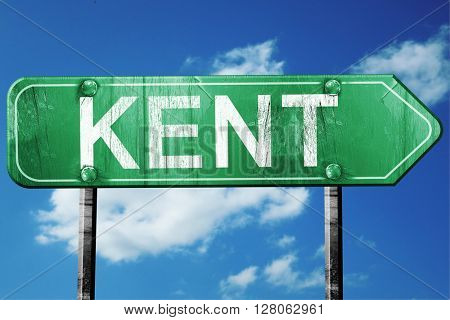 kent road sign , worn and damaged look