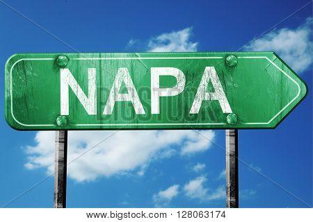 napa road sign , worn and damaged look