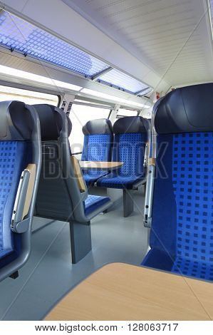 HALLE (SAALE) GERMANY - CIRCA MARCH 2013 - blue train seats empty useful as travel concept