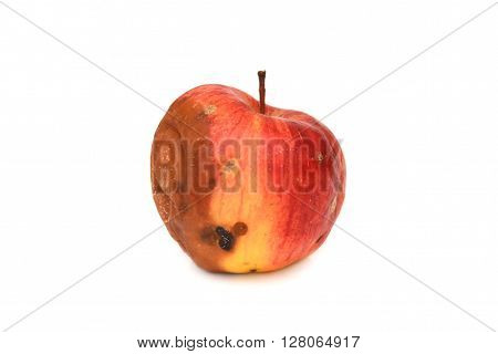 Red rotten apple. Natural color and texture