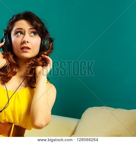 Girl In Big Headphones Listening Music Mp3 Relaxing