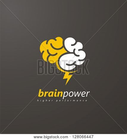 Brain Logo vector design layout. Creative idea symbol concept. Unique brainstorm power icon template. Abstract brain logo with yellow thunderbolt on a dark background.