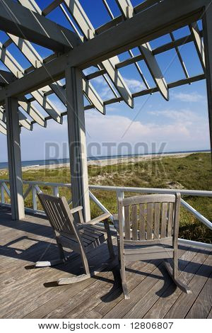 Beachfront deck with trelliswork on Bald Head Island, North Carolina.
