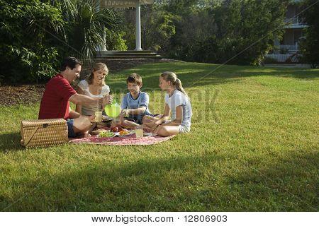 Familia caucásica de cuatro con picnic en el parque.