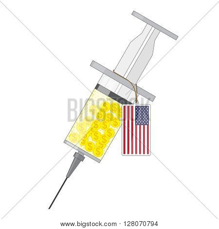 Syringe with yellow solution of gold coin with dollar sign and label with flag of USA
