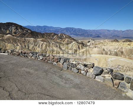 Road overlook of landscape in Death Valley National Park.