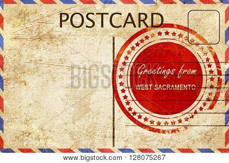 west sacramento stamp on a vintage, old postcard
