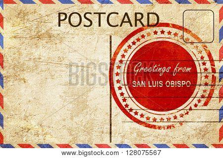 san luis obispo stamp on a vintage, old postcard